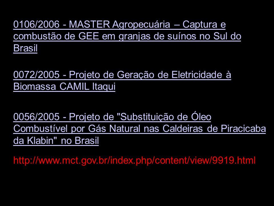 0106/2006 - MASTER Agropecuária – Captura e combustão de GEE em granjas de suínos no Sul do Brasil 0072/2005 - Projeto de Geração de Eletricidade à Bi