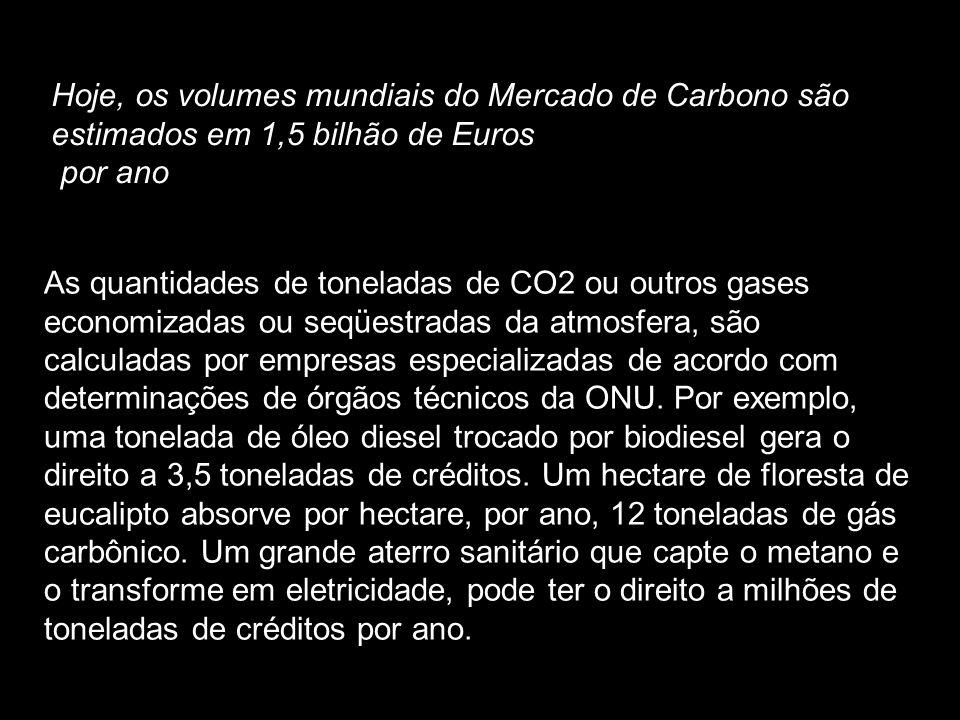 Hoje, os volumes mundiais do Mercado de Carbono são estimados em 1,5 bilhão de Euros por ano As quantidades de toneladas de CO2 ou outros gases econom