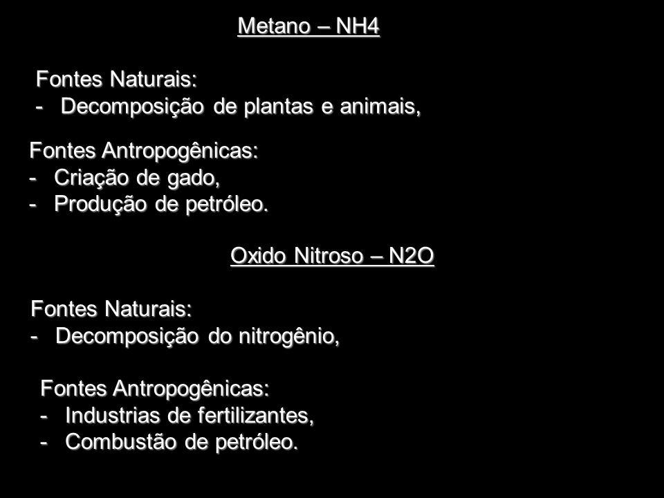 Metano – NH4 Fontes Naturais: -Decomposição de plantas e animais, Oxido Nitroso – N2O Fontes Naturais: -Decomposição do nitrogênio, Fontes Antropogêni