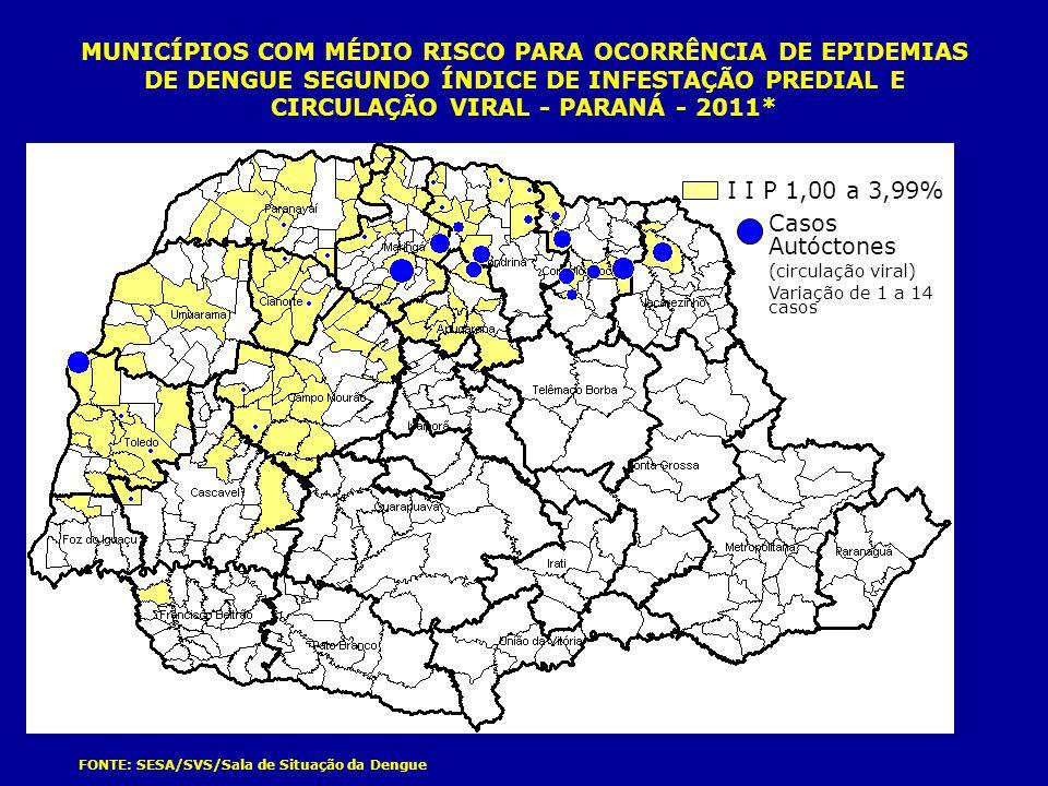 MUNICÍPIOS COM MÉDIO RISCO PARA OCORRÊNCIA DE EPIDEMIAS DE DENGUE SEGUNDO ÍNDICE DE INFESTAÇÃO PREDIAL E CIRCULAÇÃO VIRAL - PARANÁ - 2011* FONTE: SESA