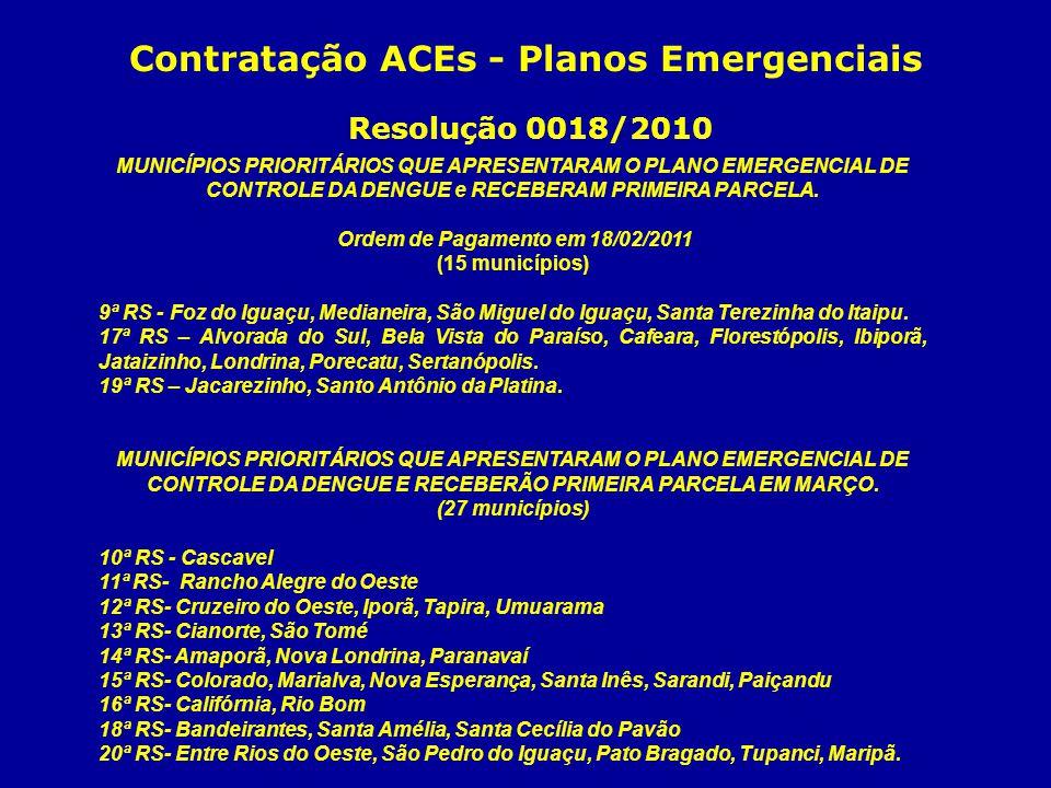 Contratação ACEs - Planos Emergenciais Resolução 0018/2010 MUNICÍPIOS PRIORITÁRIOS QUE APRESENTARAM O PLANO EMERGENCIAL DE CONTROLE DA DENGUE e RECEBE