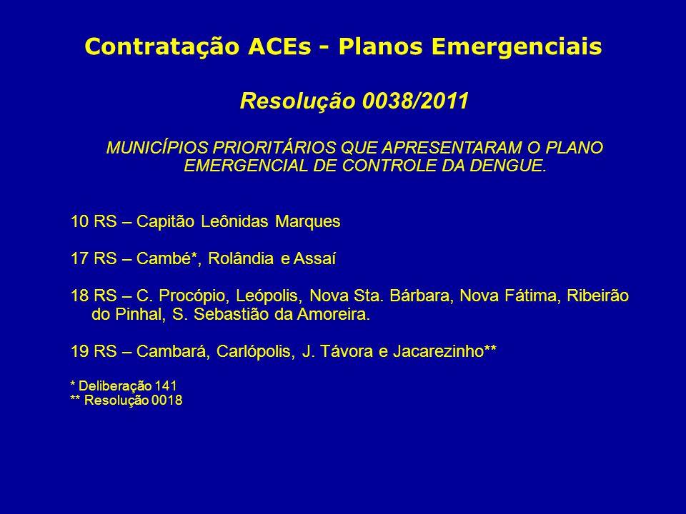 Contratação ACEs - Planos Emergenciais Resolução 0038/2011 MUNICÍPIOS PRIORITÁRIOS QUE APRESENTARAM O PLANO EMERGENCIAL DE CONTROLE DA DENGUE. 10 RS –