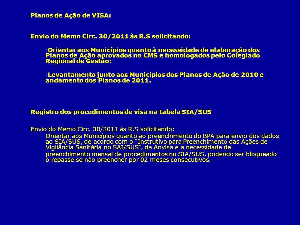 Planos de Ação de VISA: Envio do Memo Circ. 30/2011 às R.S solicitando: Orientar aos Municípios quanto à necessidade de elaboração dos Planos de Ação