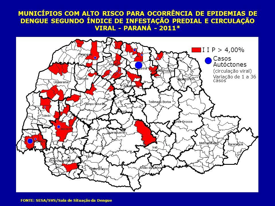 MUNICÍPIOS COM ALTO RISCO PARA OCORRÊNCIA DE EPIDEMIAS DE DENGUE SEGUNDO ÍNDICE DE INFESTAÇÃO PREDIAL E CIRCULAÇÃO VIRAL - PARANÁ - 2011* FONTE: SESA/
