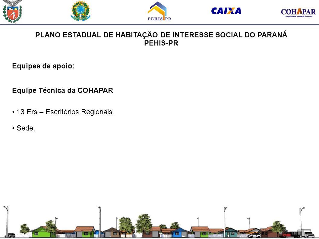 PLANO ESTADUAL DE HABITAÇÃO DE INTERESSE SOCIAL DO PARANÁ PEHIS-PR Equipes de apoio: Equipe Técnica da COHAPAR 13 Ers – Escritórios Regionais. Sede.