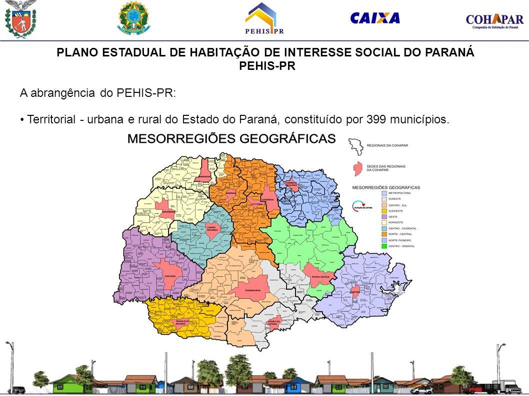 PLANO ESTADUAL DE HABITAÇÃO DE INTERESSE SOCIAL DO PARANÁ PEHIS-PR A abrangência do PEHIS-PR: Territorial - urbana e rural do Estado do Paraná, consti