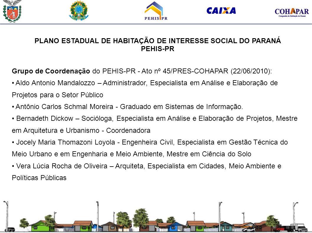 PLANO ESTADUAL DE HABITAÇÃO DE INTERESSE SOCIAL DO PARANÁ PEHIS-PR Grupo de Coordenação do PEHIS-PR - Ato nº 45/PRES-COHAPAR (22/06/2010): Aldo Antoni