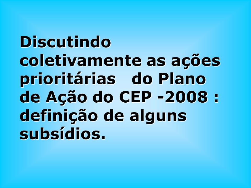 Discutindo coletivamente as ações prioritárias do Plano de Ação do CEP -2008 : definição de alguns subsídios.
