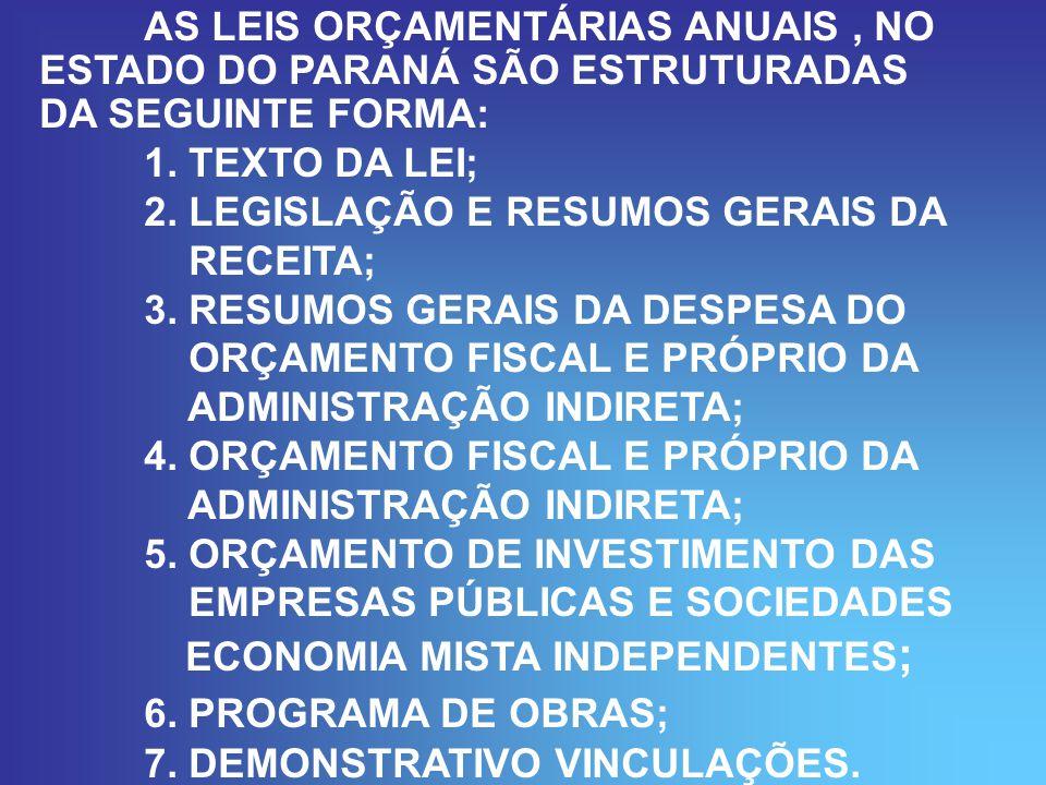 AS LEIS ORÇAMENTÁRIAS ANUAIS, NO ESTADO DO PARANÁ SÃO ESTRUTURADAS DA SEGUINTE FORMA: 1.