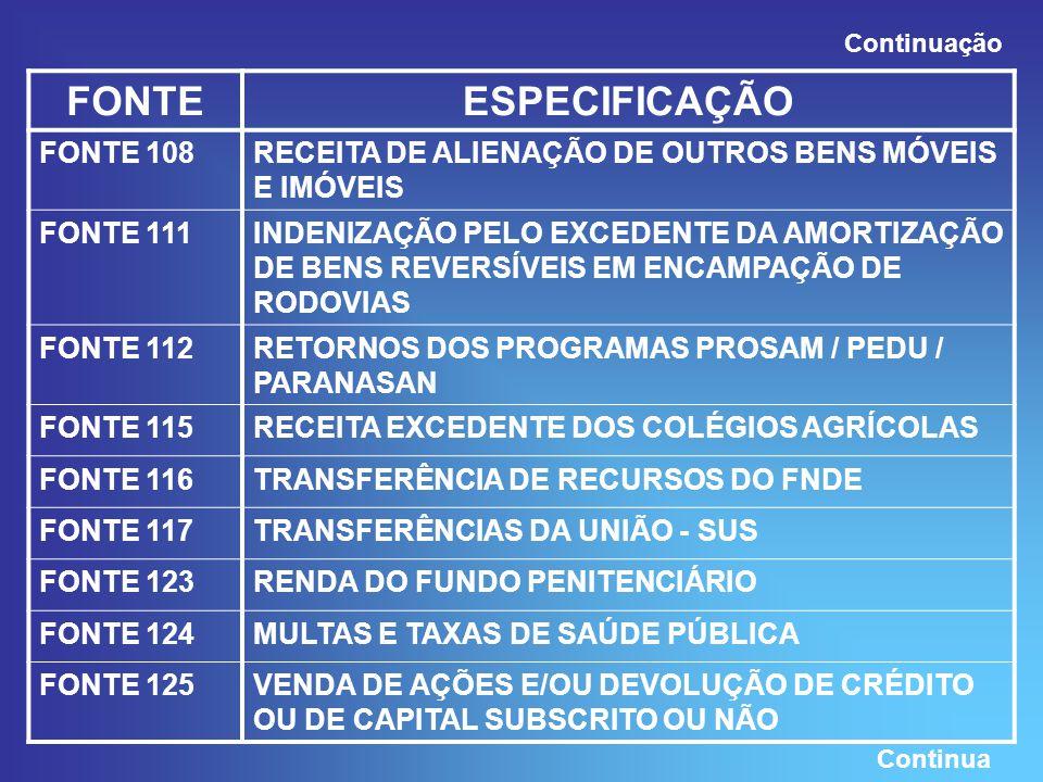 FONTEESPECIFICAÇÃO FONTE 108RECEITA DE ALIENAÇÃO DE OUTROS BENS MÓVEIS E IMÓVEIS FONTE 111INDENIZAÇÃO PELO EXCEDENTE DA AMORTIZAÇÃO DE BENS REVERSÍVEIS EM ENCAMPAÇÃO DE RODOVIAS FONTE 112RETORNOS DOS PROGRAMAS PROSAM / PEDU / PARANASAN FONTE 115RECEITA EXCEDENTE DOS COLÉGIOS AGRÍCOLAS FONTE 116TRANSFERÊNCIA DE RECURSOS DO FNDE FONTE 117TRANSFERÊNCIAS DA UNIÃO - SUS FONTE 123RENDA DO FUNDO PENITENCIÁRIO FONTE 124MULTAS E TAXAS DE SAÚDE PÚBLICA FONTE 125VENDA DE AÇÕES E/OU DEVOLUÇÃO DE CRÉDITO OU DE CAPITAL SUBSCRITO OU NÃO Continuação Continua