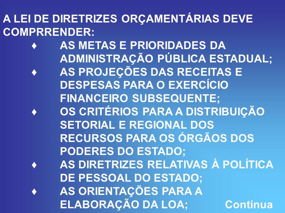 A LEI DE DIRETRIZES ORÇAMENTÁRIAS DEVE COMPRRENDER: AS METAS E PRIORIDADES DA ADMINISTRAÇÃO PÚBLICA ESTADUAL; AS PROJEÇÕES DAS RECEITAS E DESPESAS PARA O EXERCÍCIO FINANCEIRO SUBSEQUENTE; OS CRITÉRIOS PARA A DISTRIBUIÇÃO SETORIAL E REGIONAL DOS RECURSOS PARA OS ÓRGÃOS DOS PODERES DO ESTADO; AS DIRETRIZES RELATIVAS À POLÍTICA DE PESSOAL DO ESTADO; AS ORIENTAÇÕES PARA A ELABORAÇÃO DA LOA; Continua