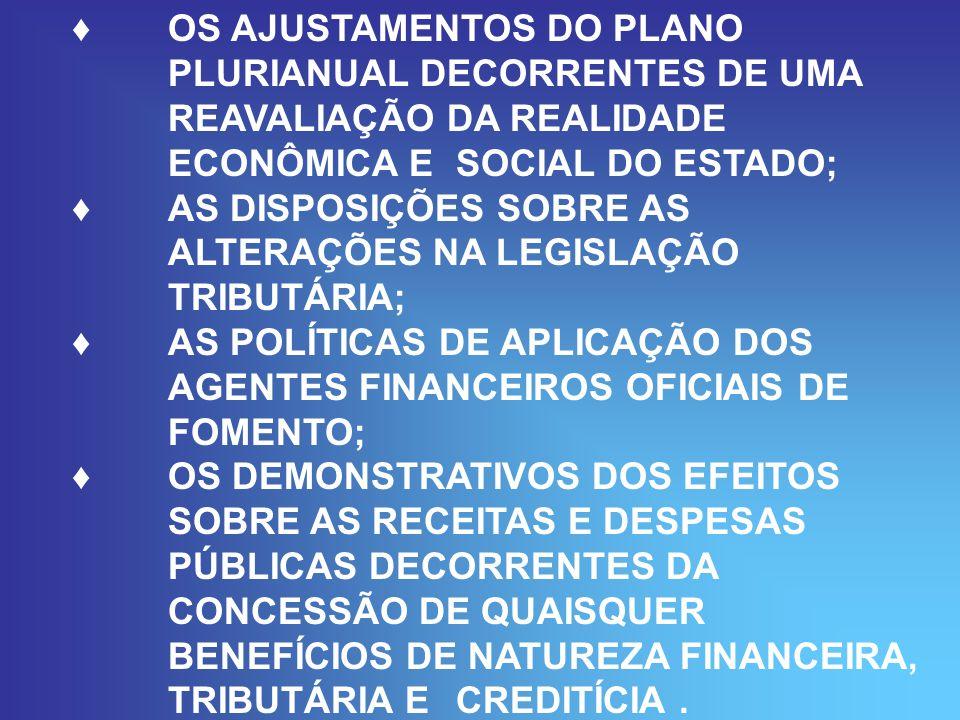 OS AJUSTAMENTOS DO PLANO PLURIANUAL DECORRENTES DE UMA REAVALIAÇÃO DA REALIDADE ECONÔMICA E SOCIAL DO ESTADO; AS DISPOSIÇÕES SOBRE AS ALTERAÇÕES NA LEGISLAÇÃO TRIBUTÁRIA; AS POLÍTICAS DE APLICAÇÃO DOS AGENTES FINANCEIROS OFICIAIS DE FOMENTO; OS DEMONSTRATIVOS DOS EFEITOS SOBRE AS RECEITAS E DESPESAS PÚBLICAS DECORRENTES DA CONCESSÃO DE QUAISQUER BENEFÍCIOS DE NATUREZA FINANCEIRA, TRIBUTÁRIA E CREDITÍCIA.