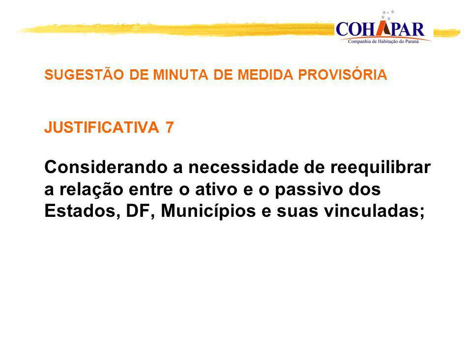 SUGESTÃO DE MINUTA DE MEDIDA PROVISÓRIA JUSTIFICATIVA 7 Considerando a necessidade de reequilibrar a relação entre o ativo e o passivo dos Estados, DF, Municípios e suas vinculadas;