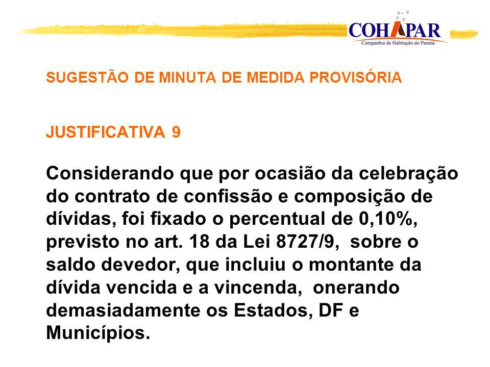 SUGESTÃO DE MINUTA DE MEDIDA PROVISÓRIA JUSTIFICATIVA 9 Considerando que por ocasião da celebração do contrato de confissão e composição de dívidas, f