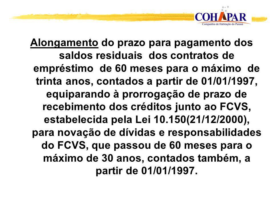 Alongamento do prazo para pagamento dos saldos residuais dos contratos de empréstimo de 60 meses para o máximo de trinta anos, contados a partir de 01