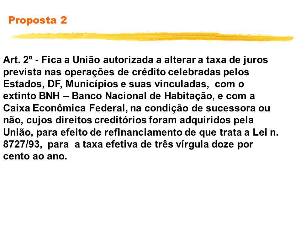 Proposta 2 Art. 2º - Fica a União autorizada a alterar a taxa de juros prevista nas operações de crédito celebradas pelos Estados, DF, Municípios e su
