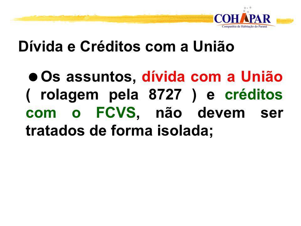 Dívida e Créditos com a União Os assuntos, dívida com a União ( rolagem pela 8727 ) e créditos com o FCVS, não devem ser tratados de forma isolada;