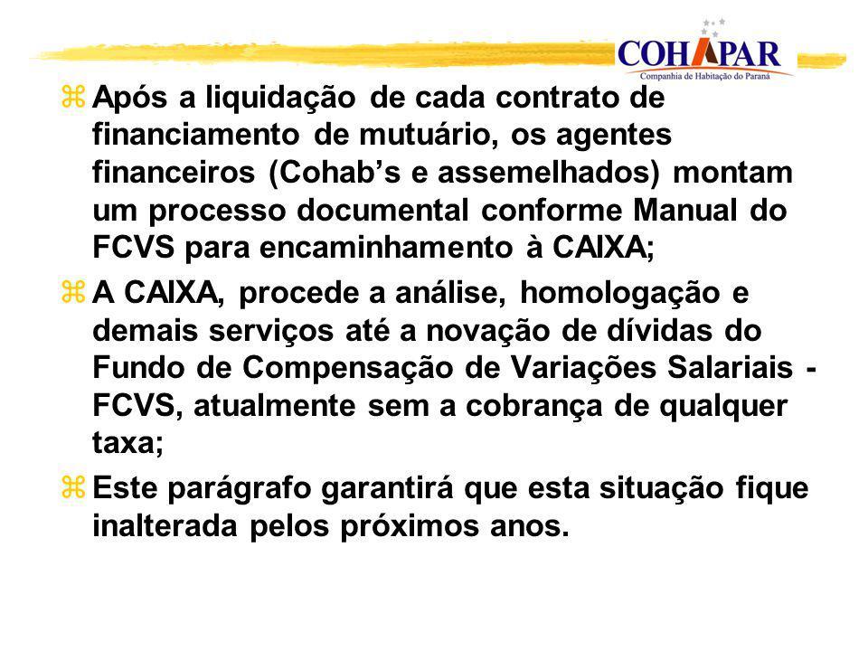zApós a liquidação de cada contrato de financiamento de mutuário, os agentes financeiros (Cohabs e assemelhados) montam um processo documental conform