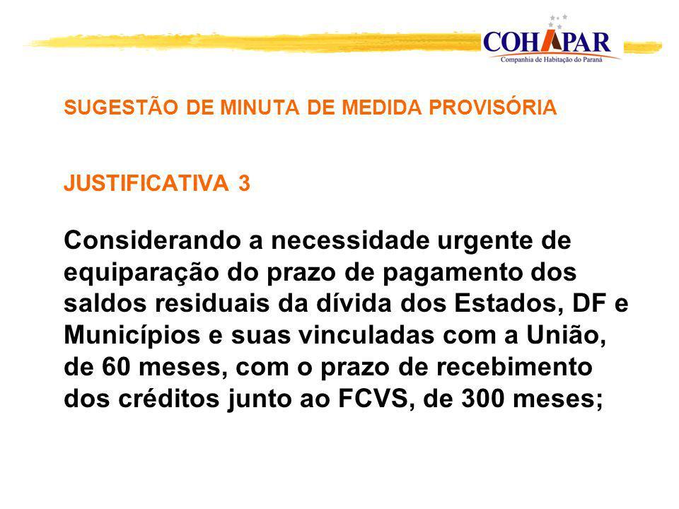 SUGESTÃO DE MINUTA DE MEDIDA PROVISÓRIA JUSTIFICATIVA 3 Considerando a necessidade urgente de equiparação do prazo de pagamento dos saldos residuais d