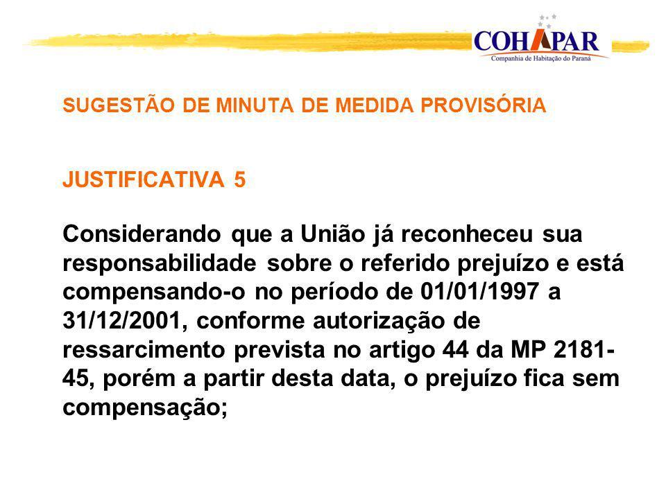 SUGESTÃO DE MINUTA DE MEDIDA PROVISÓRIA JUSTIFICATIVA 5 Considerando que a União já reconheceu sua responsabilidade sobre o referido prejuízo e está compensando-o no período de 01/01/1997 a 31/12/2001, conforme autorização de ressarcimento prevista no artigo 44 da MP 2181- 45, porém a partir desta data, o prejuízo fica sem compensação;