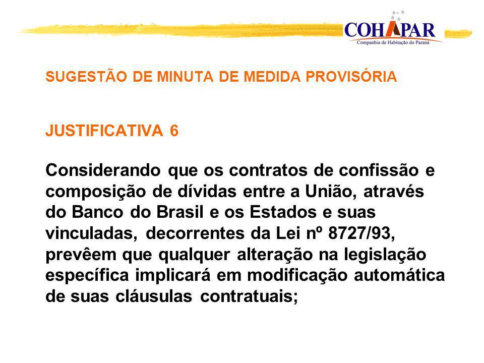 SUGESTÃO DE MINUTA DE MEDIDA PROVISÓRIA JUSTIFICATIVA 6 Considerando que os contratos de confissão e composição de dívidas entre a União, através do B