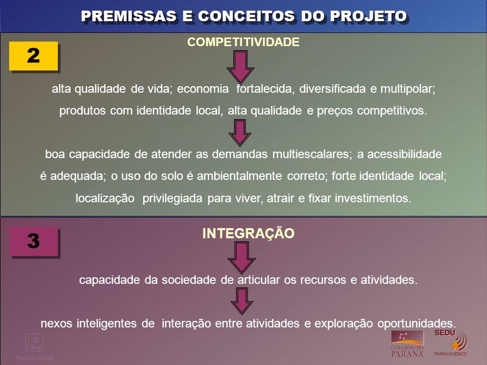 Clique para editar o estilo do título mestre Fevereiro 2009 PREMISSAS E CONCEITOS DO PROJETO COMPETITIVIDADE alta qualidade de vida; economia fortalec