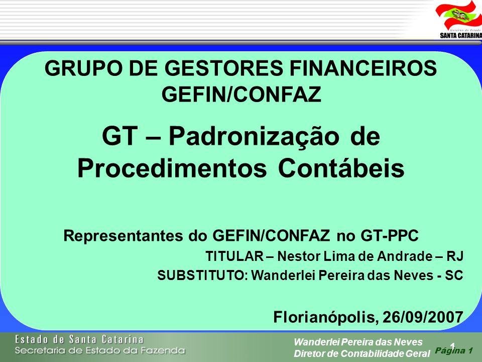 1 Wanderlei Pereira das Neves Diretor de Contabilidade Geral Página 1 GRUPO DE GESTORES FINANCEIROS GEFIN/CONFAZ GT – Padronização de Procedimentos Co