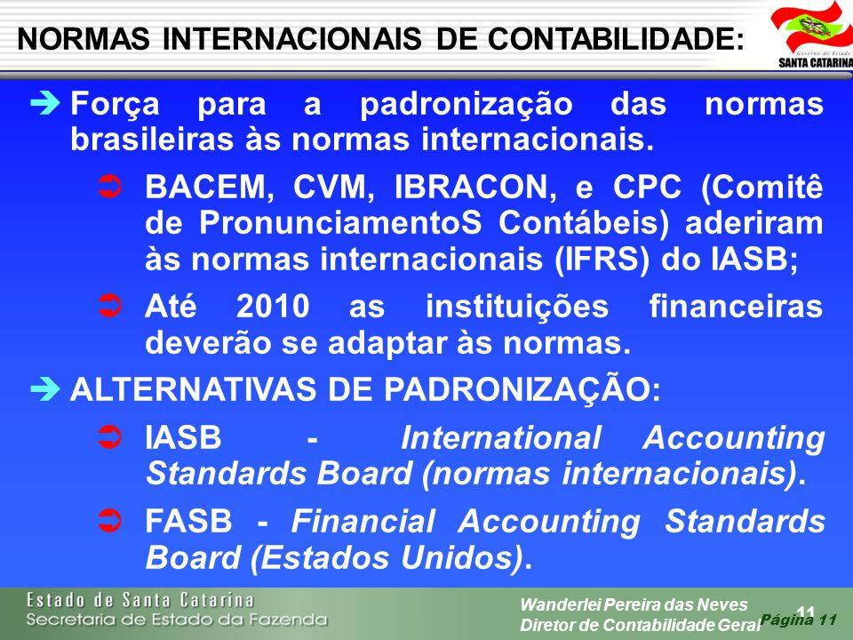 11 Wanderlei Pereira das Neves Diretor de Contabilidade Geral Página 11 Força para a padronização das normas brasileiras às normas internacionais. BAC