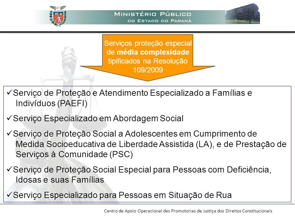 Centro de Apoio Operacional das Promotorias de Justiça dos Direitos Constitucionais Serviço de Proteção e Atendimento Especializado a Famílias e Indiv