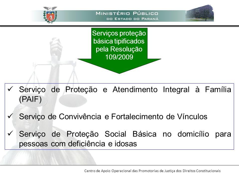 Centro de Apoio Operacional das Promotorias de Justiça dos Direitos Constitucionais Serviço de Proteção e Atendimento Integral à Família (PAIF) Serviç