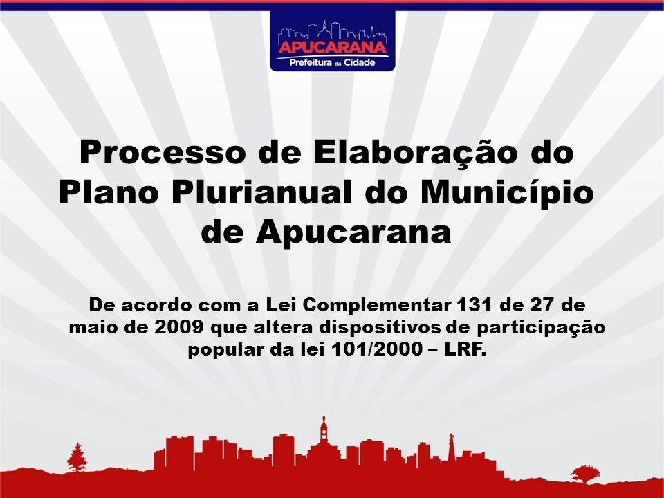 Processo de Elaboração do Plano Plurianual do Município de Apucarana De acordo com a Lei Complementar 131 de 27 de maio de 2009 que altera dispositivo