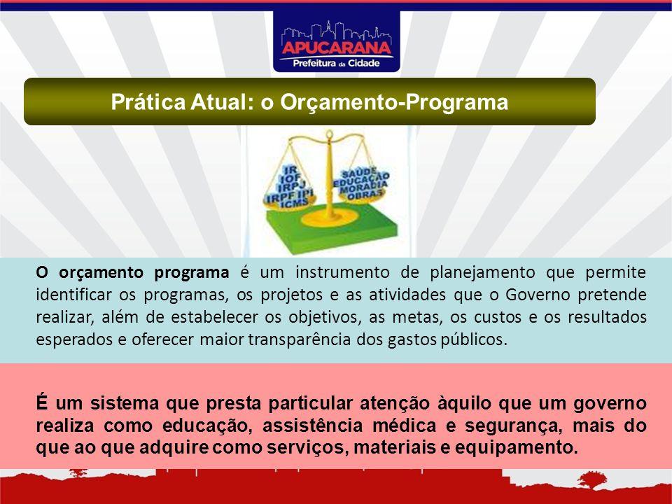 Prática Atual: o Orçamento-Programa O orçamento programa é um instrumento de planejamento que permite identificar os programas, os projetos e as ativi