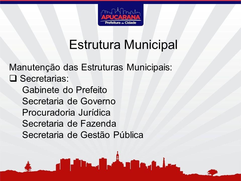 Estrutura Municipal Manutenção das Estruturas Municipais: Secretarias: Gabinete do Prefeito Secretaria de Governo Procuradoria Jurídica Secretaria de