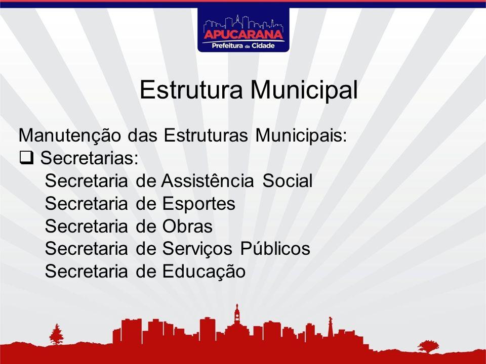 Manutenção das Estruturas Municipais: Secretarias: Secretaria de Assistência Social Secretaria de Esportes Secretaria de Obras Secretaria de Serviços