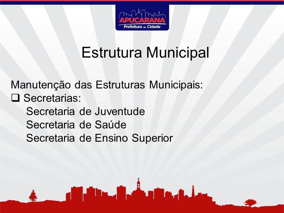 Manutenção das Estruturas Municipais: Secretarias: Secretaria de Juventude Secretaria de Saúde Secretaria de Ensino Superior Estrutura Municipal