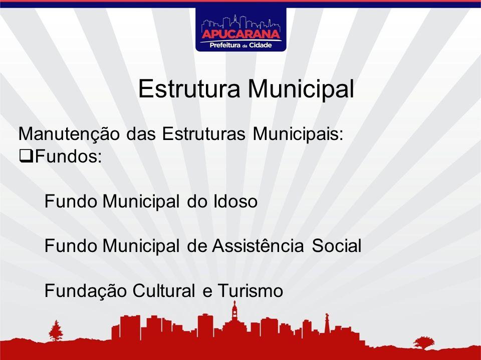 Manutenção das Estruturas Municipais: Fundos: Fundo Municipal do Idoso Fundo Municipal de Assistência Social Fundação Cultural e Turismo Estrutura Mun