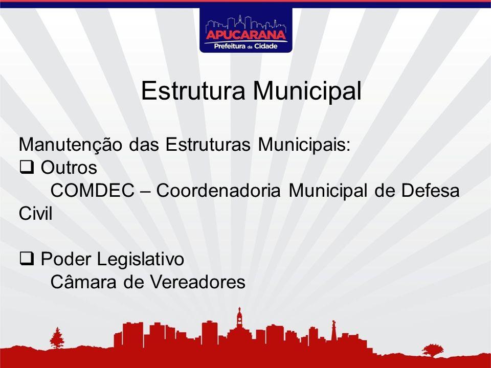 Manutenção das Estruturas Municipais: Outros COMDEC – Coordenadoria Municipal de Defesa Civil Poder Legislativo Câmara de Vereadores Estrutura Municip