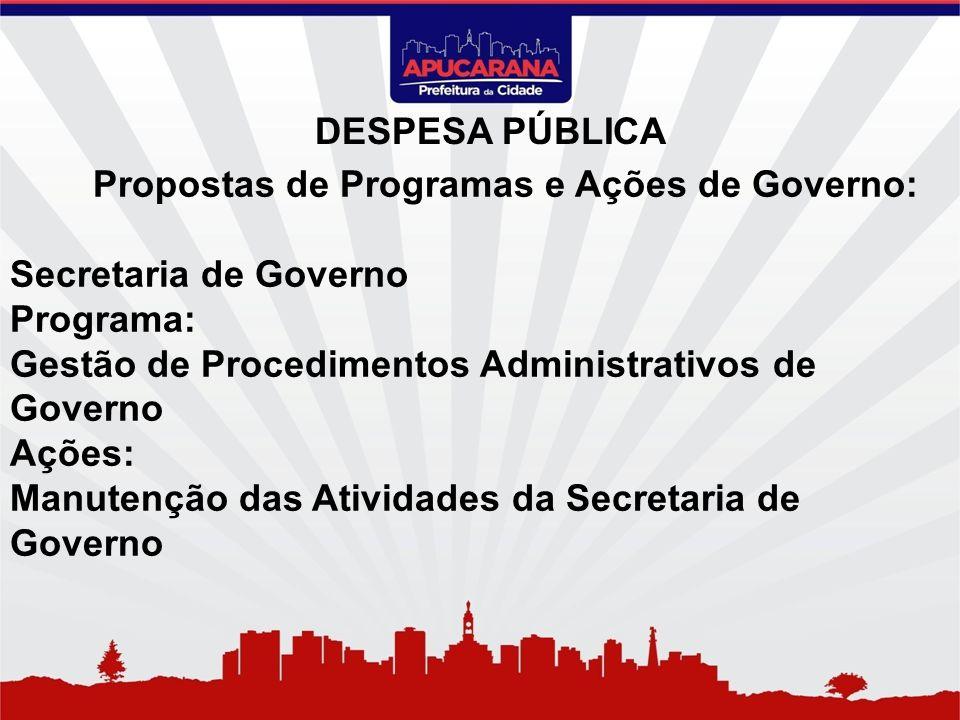 Propostas de Programas e Ações de Governo: Secretaria de Governo Programa: Gestão de Procedimentos Administrativos de Governo Ações: Manutenção das At
