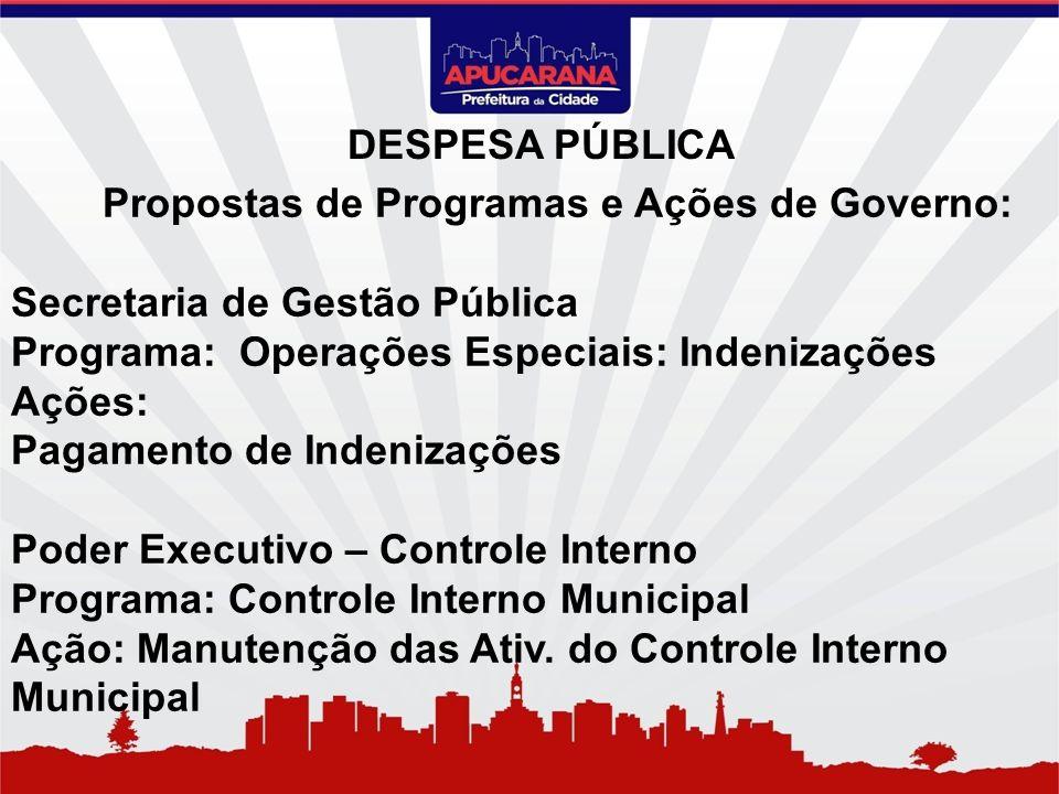 Propostas de Programas e Ações de Governo: Secretaria de Gestão Pública Programa: Operações Especiais: Indenizações Ações: Pagamento de Indenizações P