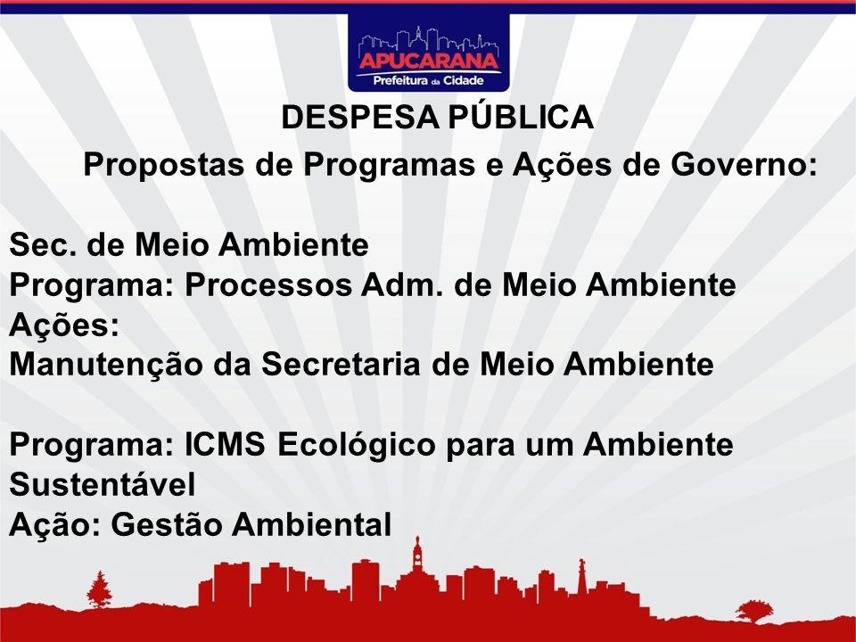Propostas de Programas e Ações de Governo: Sec. de Meio Ambiente Programa: Processos Adm. de Meio Ambiente Ações: Manutenção da Secretaria de Meio Amb