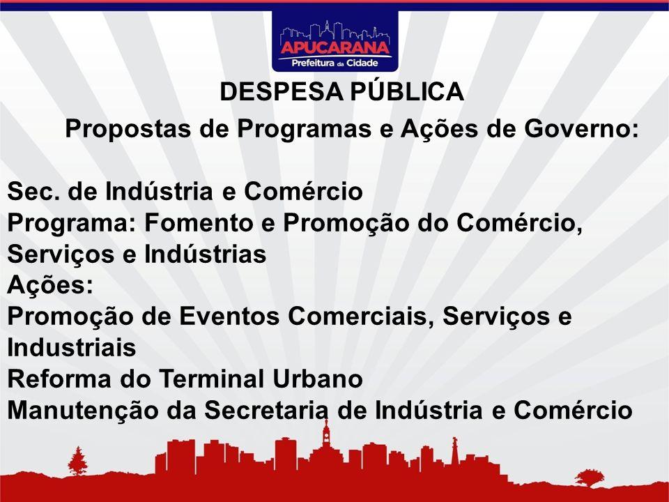 Propostas de Programas e Ações de Governo: Sec. de Indústria e Comércio Programa: Fomento e Promoção do Comércio, Serviços e Indústrias Ações: Promoçã