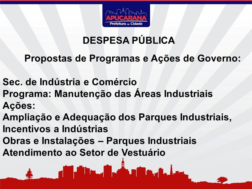 Propostas de Programas e Ações de Governo: Sec. de Indústria e Comércio Programa: Manutenção das Áreas Industriais Ações: Ampliação e Adequação dos Pa