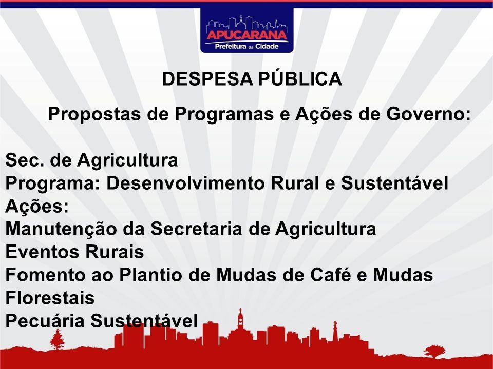 Propostas de Programas e Ações de Governo: Sec. de Agricultura Programa: Desenvolvimento Rural e Sustentável Ações: Manutenção da Secretaria de Agricu