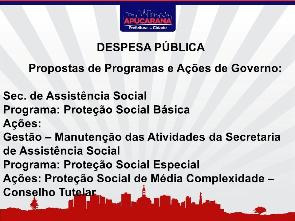 Propostas de Programas e Ações de Governo: Sec. de Assistência Social Programa: Proteção Social Básica Ações: Gestão – Manutenção das Atividades da Se