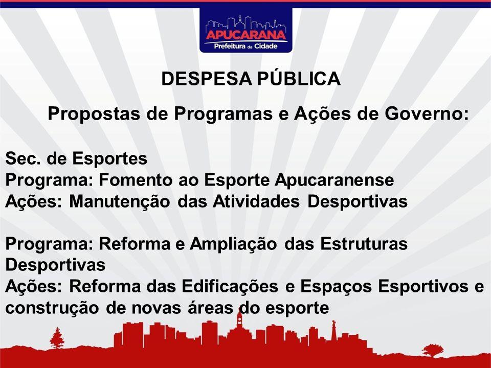 Propostas de Programas e Ações de Governo: Sec. de Esportes Programa: Fomento ao Esporte Apucaranense Ações: Manutenção das Atividades Desportivas Pro