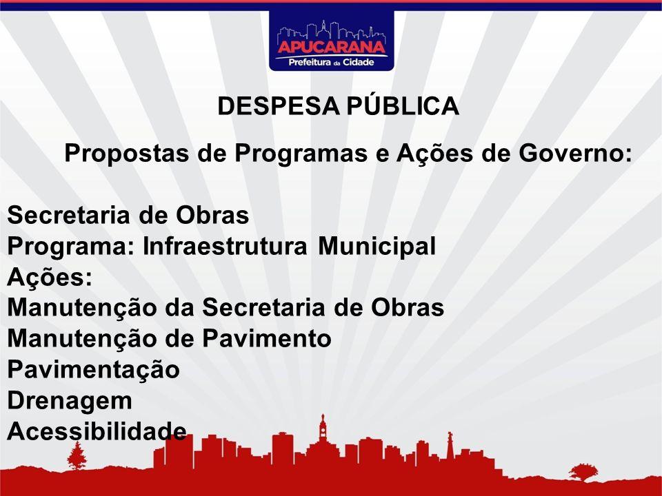 Propostas de Programas e Ações de Governo: Secretaria de Obras Programa: Infraestrutura Municipal Ações: Manutenção da Secretaria de Obras Manutenção
