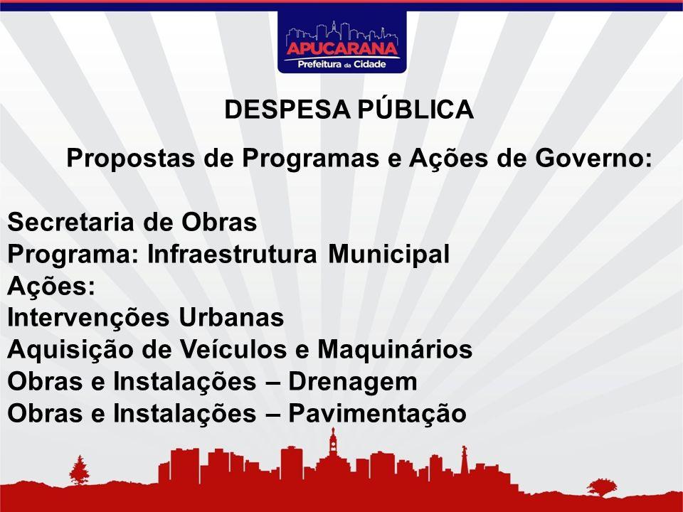 Propostas de Programas e Ações de Governo: Secretaria de Obras Programa: Infraestrutura Municipal Ações: Intervenções Urbanas Aquisição de Veículos e