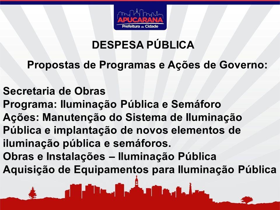 Propostas de Programas e Ações de Governo: Secretaria de Obras Programa: Iluminação Pública e Semáforo Ações: Manutenção do Sistema de Iluminação Públ