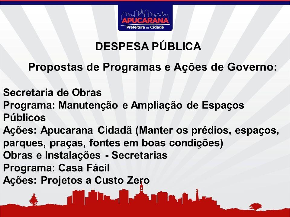 Propostas de Programas e Ações de Governo: Secretaria de Obras Programa: Manutenção e Ampliação de Espaços Públicos Ações: Apucarana Cidadã (Manter os