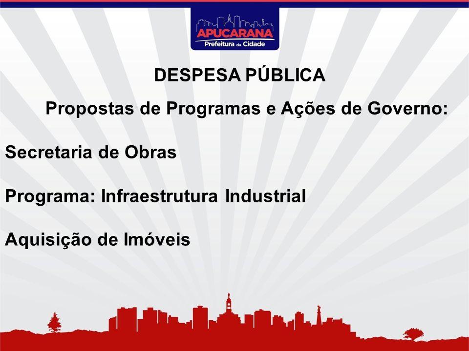 Propostas de Programas e Ações de Governo: Secretaria de Obras Programa: Infraestrutura Industrial Aquisição de Imóveis DESPESA PÚBLICA